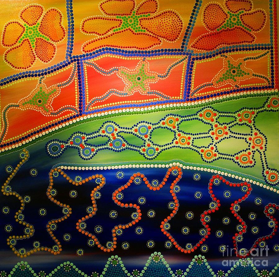 Aboriginal Art Painting - Aboriginal Inspirations 7 by Mariusz Czajkowski