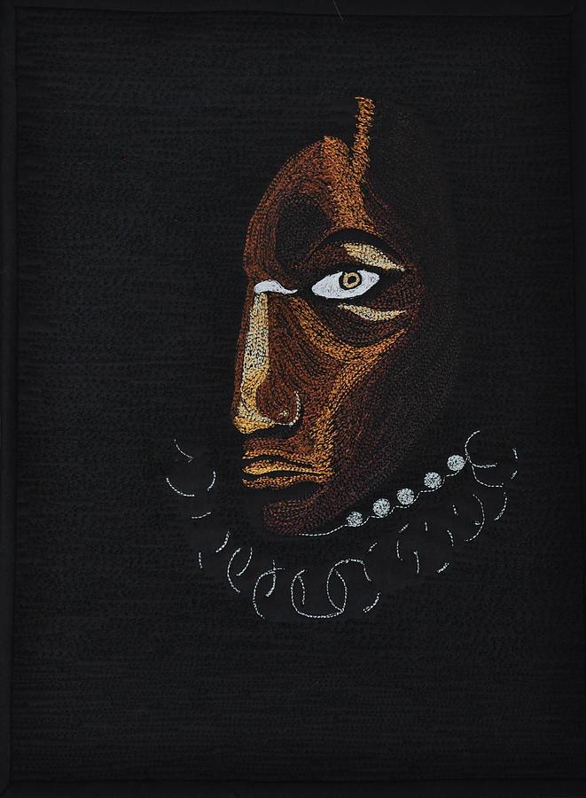 Fiber Art Tapestry - Textile - Aboriginal Woman by Jo Baner