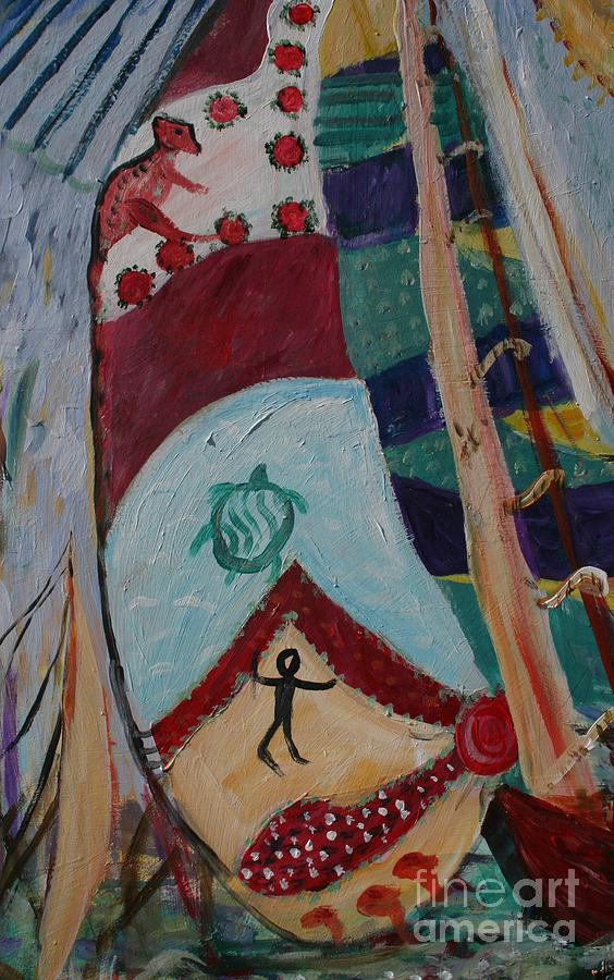Boats Painting - Aborigines Sail by Avonelle Kelsey