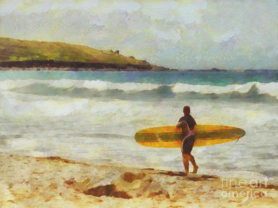 Surfing Painting - About To Surf by Pixel Chimp