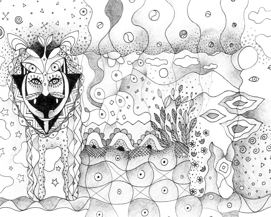 Oneness Drawing - About Wolves And Sheep by Helena Tiainen