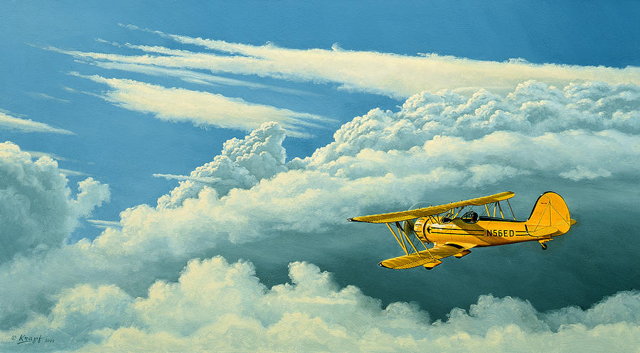 Cloudscape Painting - Above The Clouds-waco Biplane by Paul Krapf
