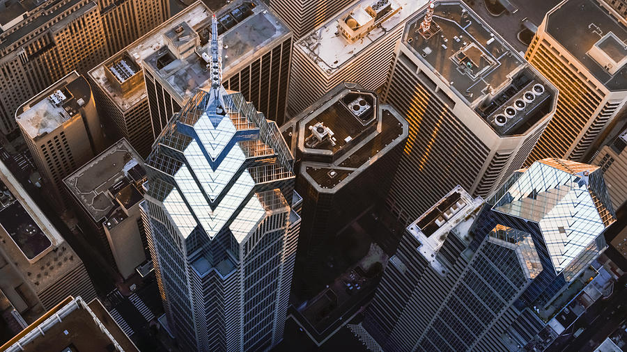 Above the One and Two Liberty Place in Philadelphia, PA Photograph by Simonkr
