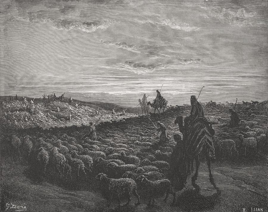 Herding Painting - Abraham Journeying Into The Land Of Canaan by Gustave Dore
