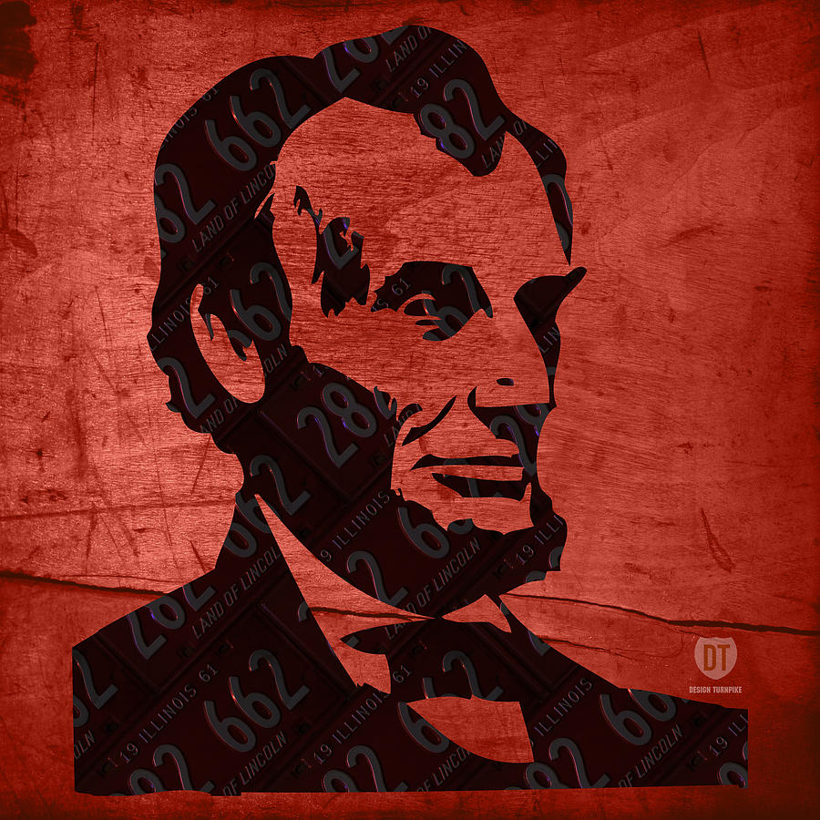 License Plate Map Mixed Media - Abraham Lincoln License Plate Art by Design Turnpike
