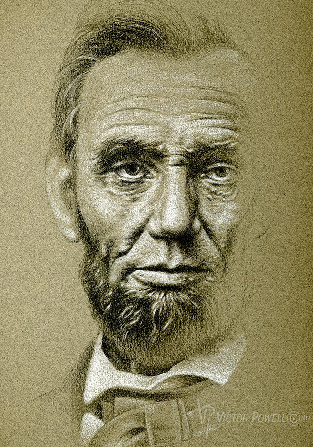 Canvas Lincoln Tech >> Abraham Lincoln Pencil Portrait Drawing by Victor Powell