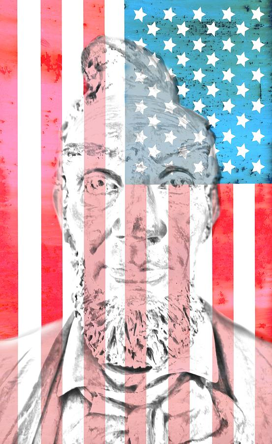 Abraham Lincoln Digital Art - Abraham Lincoln Vintage American Flag by Dan Sproul