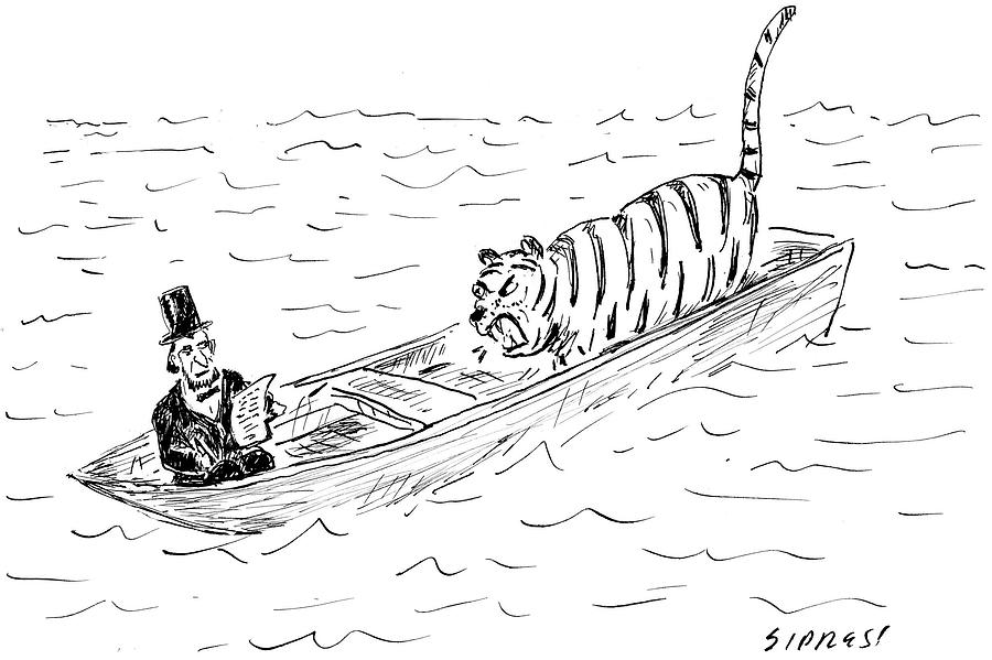 Cartoon Drawing - Abraham Lincoln With Tiger In Boat by David Sipress