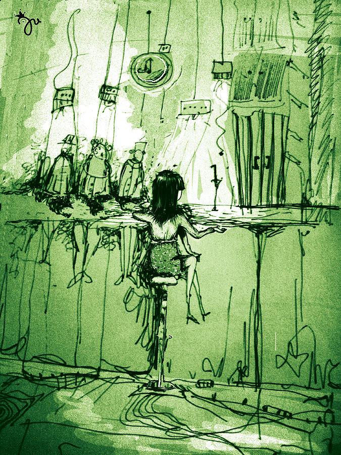 Fantasy Digital Art Lady In The Absinthe Bar Green Timeless Space  Digital Art - Absinthe Bar by J-Star Wind