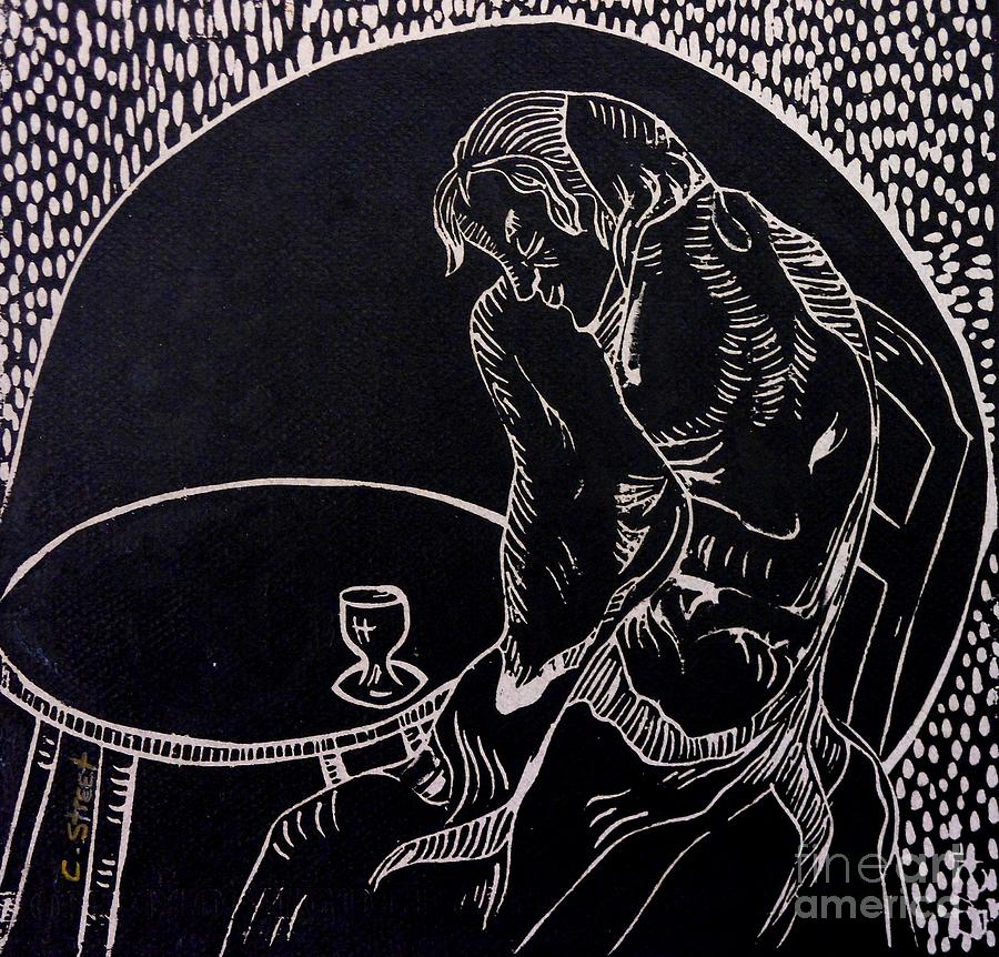 Figurative Relief - Absinthe Drinker After Picasso by Caroline Street