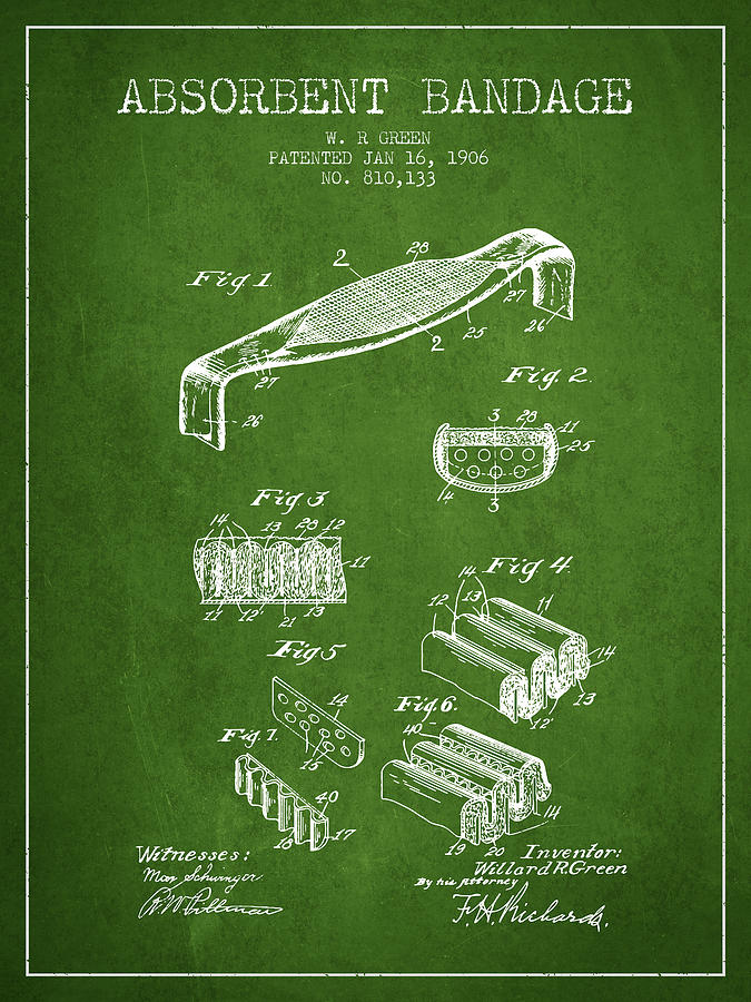 Bandage Digital Art - Absorbent Bandage Patent from 1906 - Green by Aged Pixel