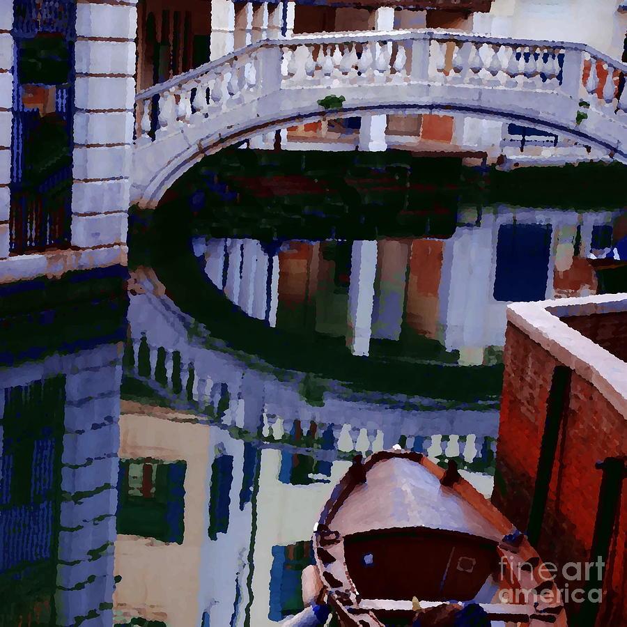 Venice Photograph - Abstract - Venice Bridge Reflection by Jacqueline M Lewis