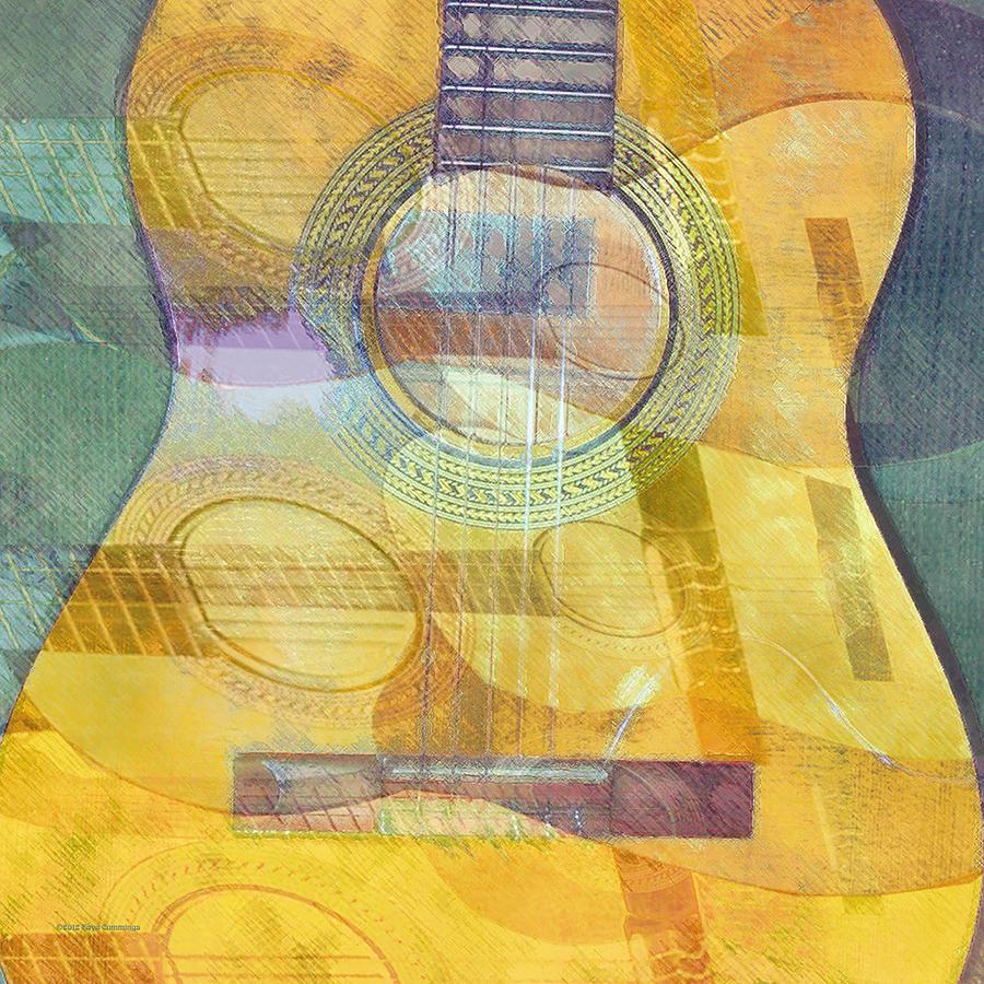 Abstract Acoustic Guitar Vertical Digital Art by Faye Cummings