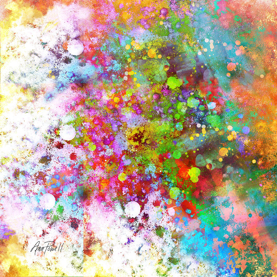 Abstract art color splash on square painting by ann powell for Artist canvas paint color