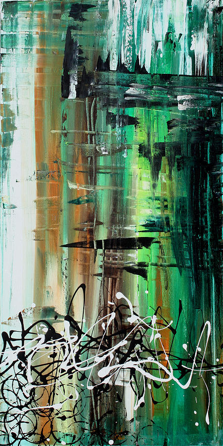 Wall Painting - Abstract Art Colorful Original Painting Green Valley By Madart by Megan Duncanson