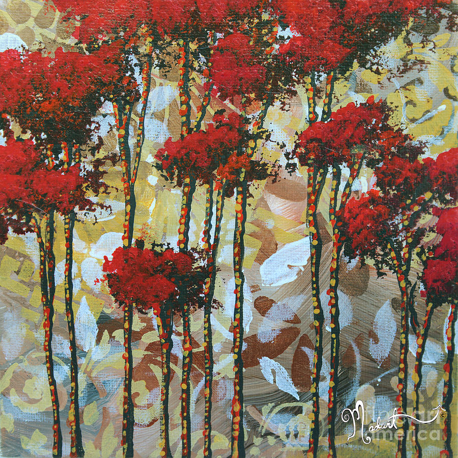 Abstract art decorative landscape original painting whispering trees i by madart studios - Decorative painting artists ...