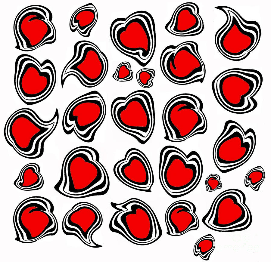 Hearts Digital Art - Hearts Black White Red No.386. by Drinka Mercep