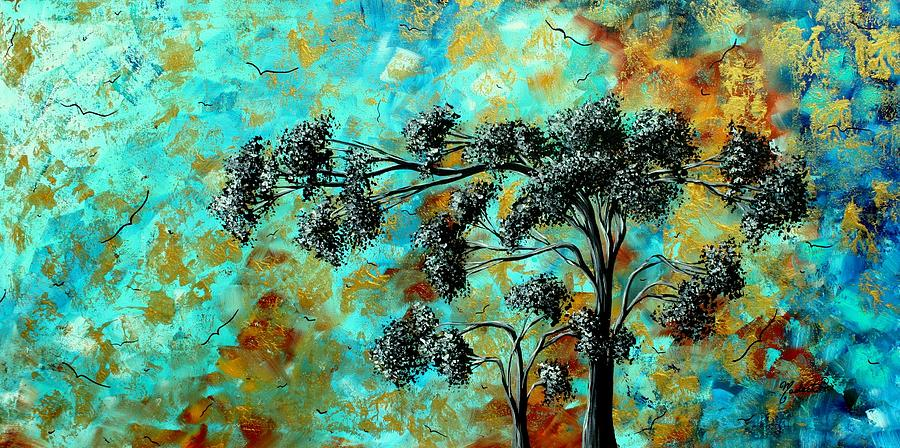 abstract art landscape metallic gold textured painting spring blooms