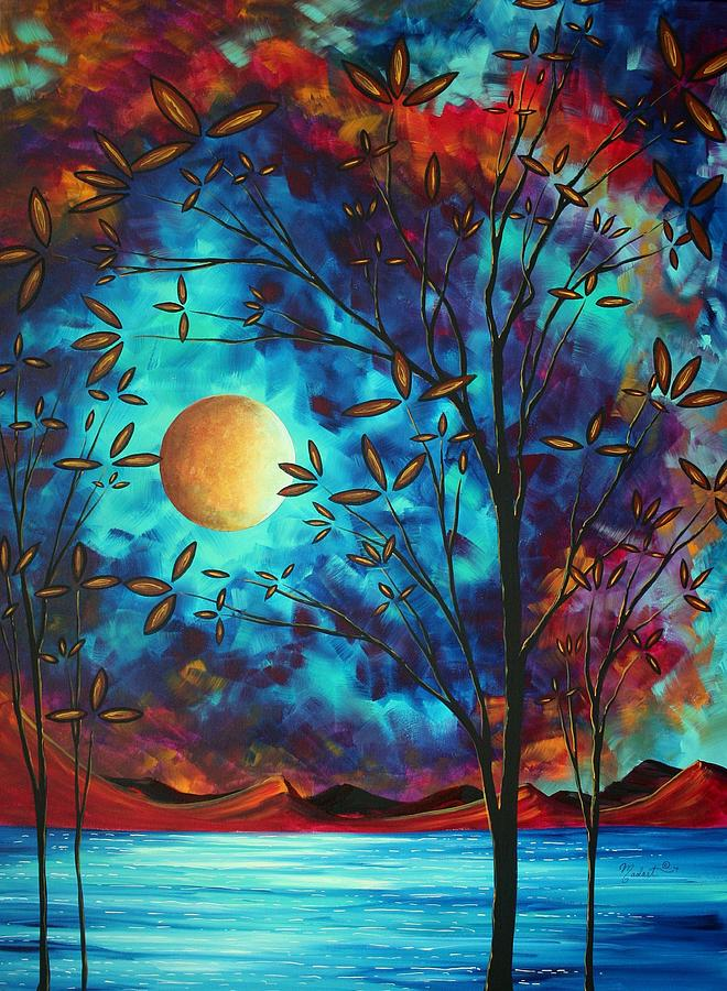 Abstract Painting - Abstract Art Landscape Tree Blossoms Sea Moon Painting Visionary Delight By Madart by Megan Duncanson