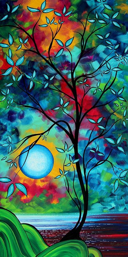 Artwork Painting - Abstract Art Landscape Tree Blossoms Sea Painting Under The Light Of The Moon I  By Madart by Megan Duncanson