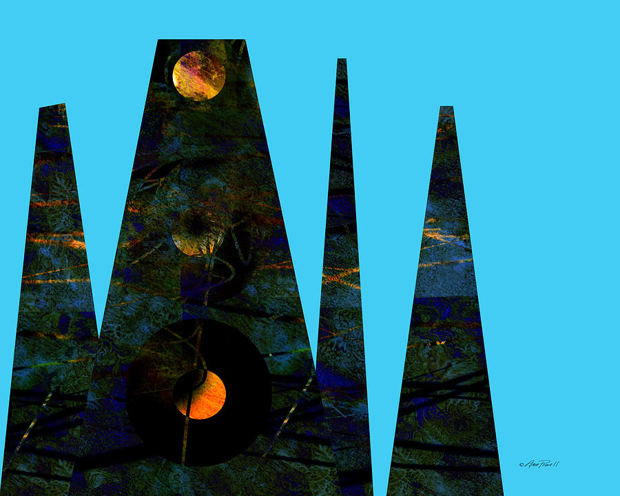 Abstract Digital Art - abstract - art- Mystical Moons  by Ann Powell