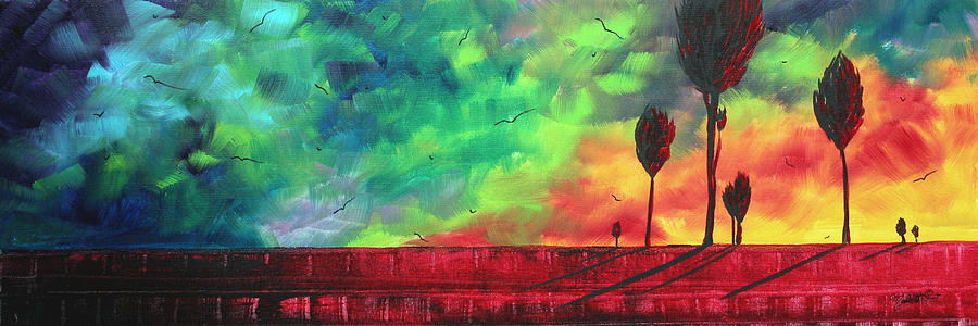 Abstract Painting - Abstract Art Original Colorful Landscape Painting Burning Skies By Madart  by Megan Duncanson