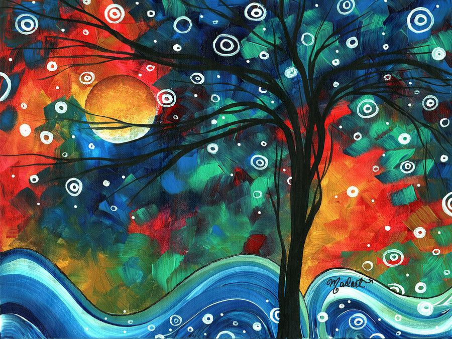 Abstract Painting - Abstract Art Original Landscape Colorful Painting First Snow Fall By Madart by Megan Duncanson