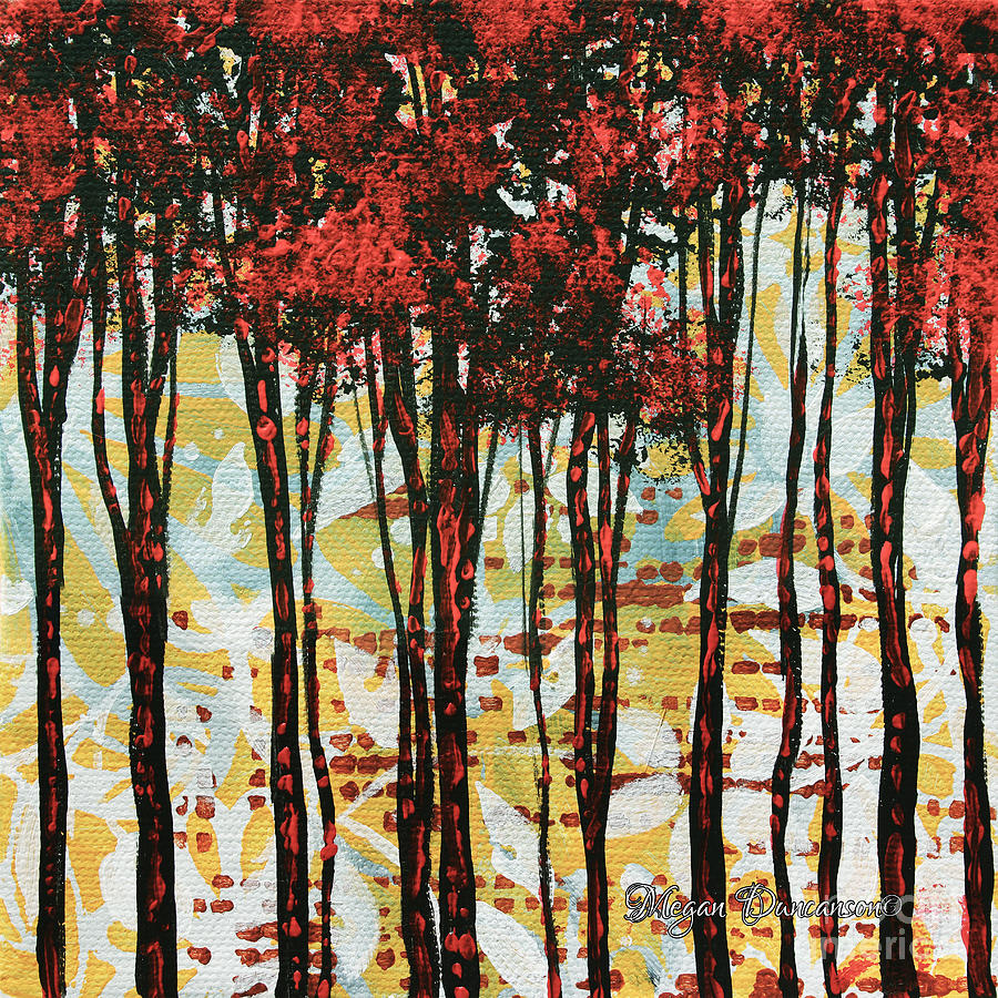 Contemporary Painting - Abstract Art Original Landscape Painting Contemporary Design Forest Of Dreams I By Madart by Megan Duncanson