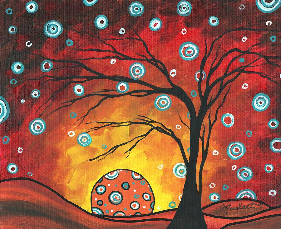 Abstract Painting - Abstract Art Original Landscape Painting Setting Sun By Madart by Megan Duncanson
