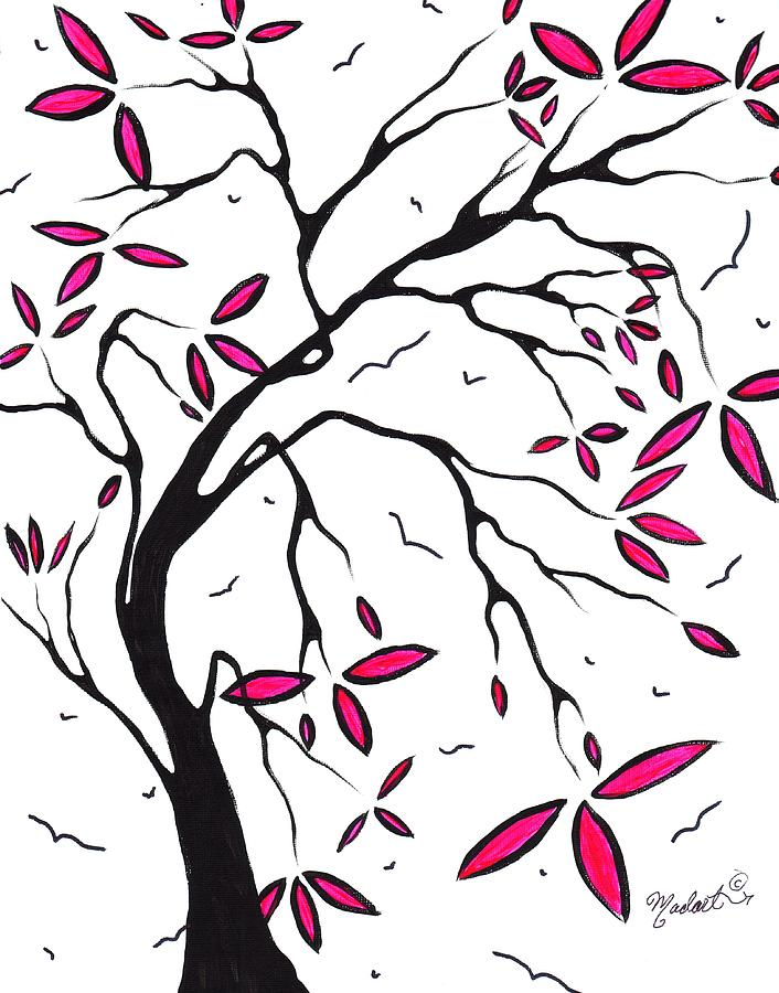 Abstract Painting - Abstract Artwork Modern Original Landscape Pink Blossom Tree Art Pink Foliage By Madart by Megan Duncanson