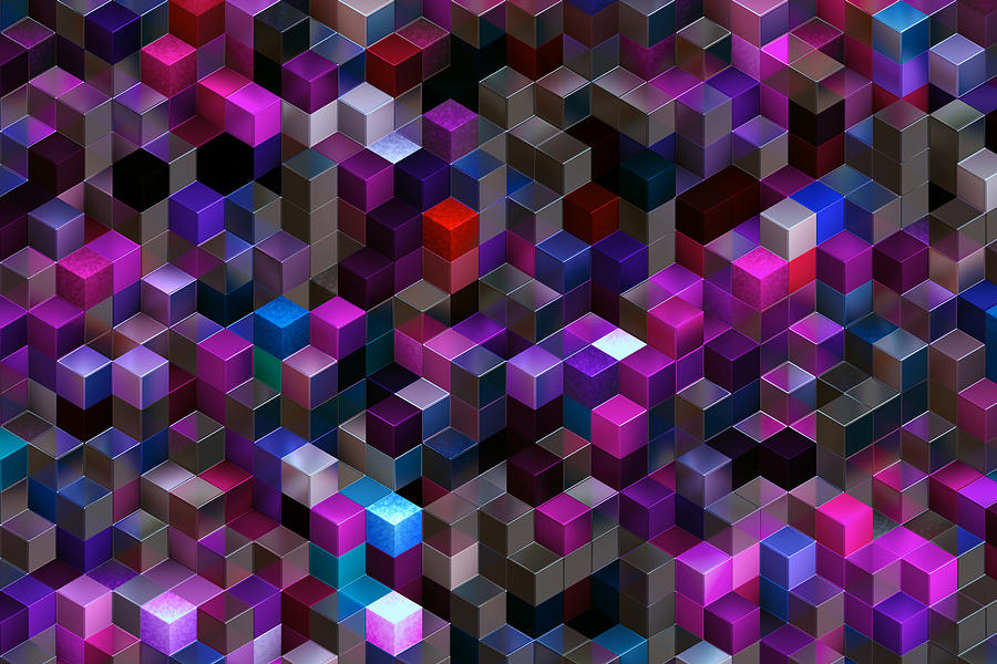 Abstract Background Of Multi-colored Cubes Photograph by Oxygen