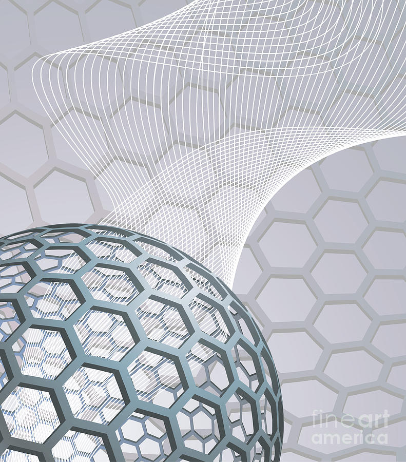Buckminsterfullerene Mixed Media - Abstract Background With Buckyball by Christos Georghiou