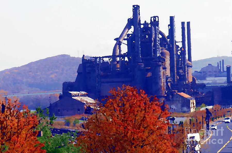 Abstract - Bethlehem Steel - Indian Summer by Jacqueline M Lewis
