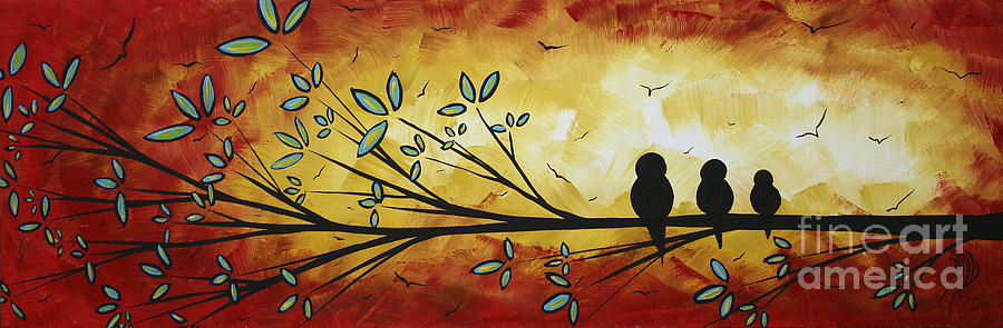 Abstract Painting - Abstract Bird Landscape Tree Blossoms Original Painting Family Of Three by Megan Duncanson