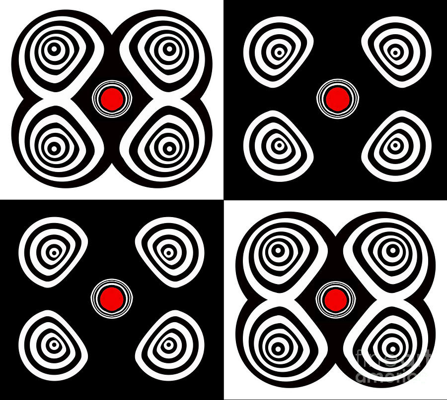 Abstract Artwork Digital Art - Abstract Black White Red Op Art Minimalism No.217  by Drinka Mercep