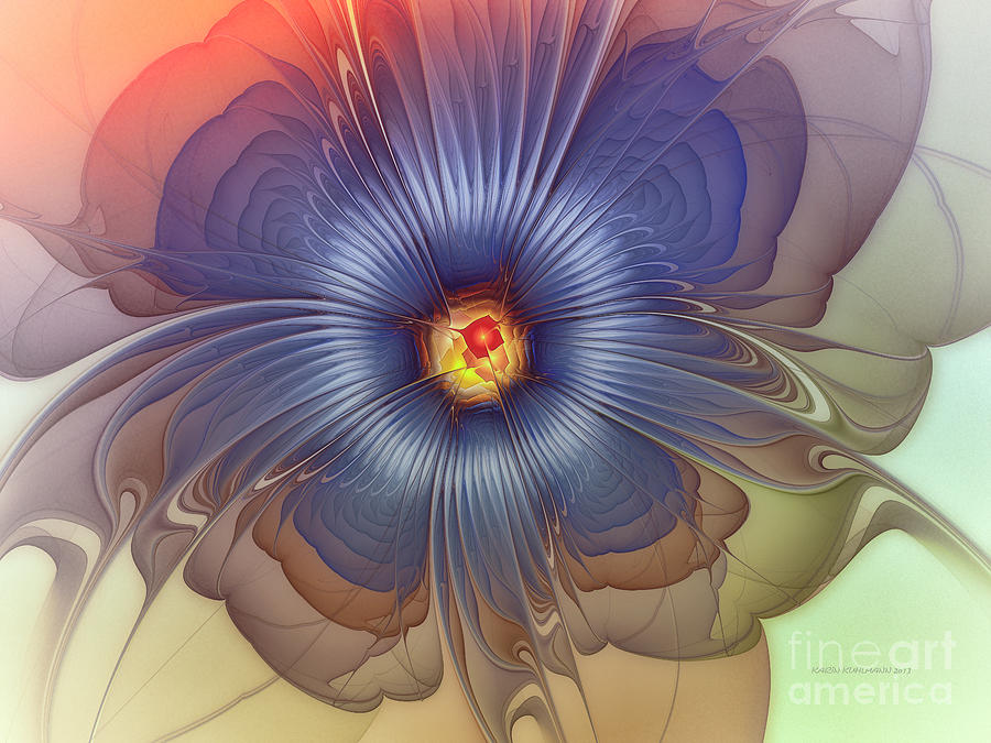 Abstract Digital Art - Abstract Blue Flower In Sunday Dress by Karin Kuhlmann