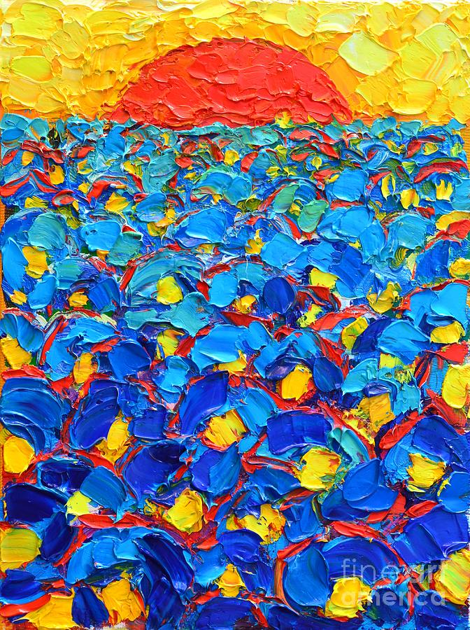 Poppies Painting - Abstract Blue Poppies In Sunrise -original Oil Painting by Ana Maria Edulescu
