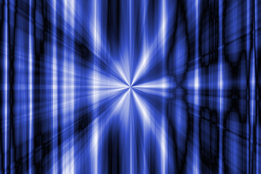 Abstract Glass Art - Abstract Blue Rays Background by Somkiet Chanumporn