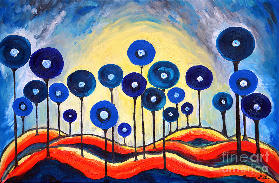 Lollipops Painting - Abstract Blue Symphony  by Ramona Matei