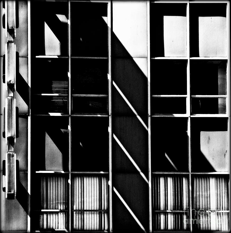 Light Photograph - Abstract Building Fascade With Light And Shadow by James Aiken