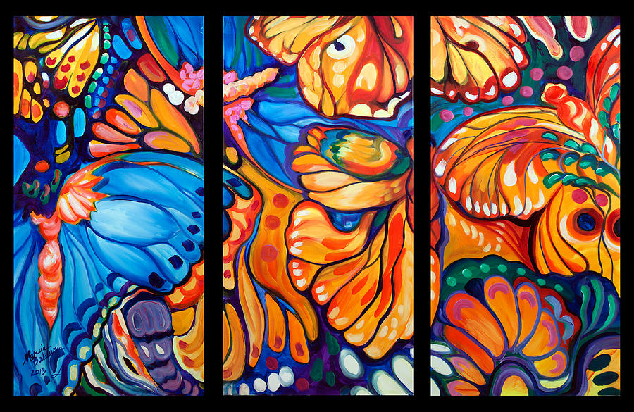 Abstract Butterflies Triptych Painting by Marcia Baldwin