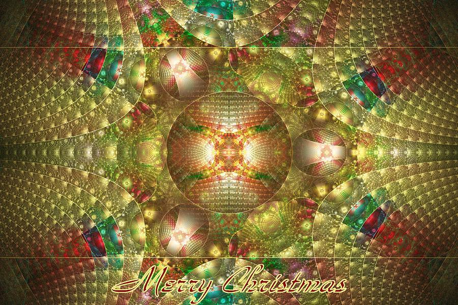 Fractal Digital Art - Abstract Christmas Card by Sandy Keeton