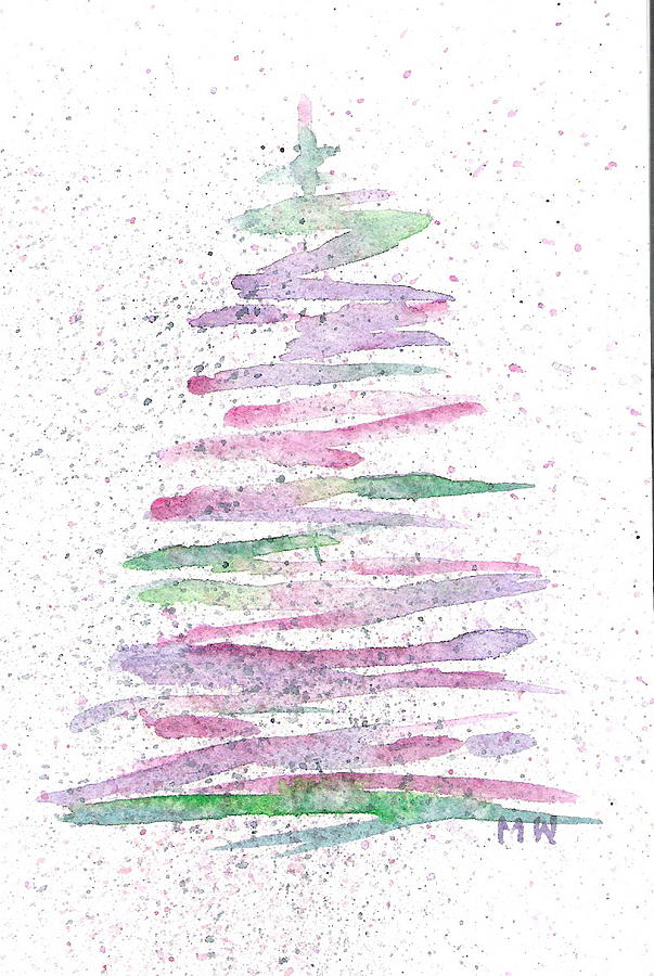 abstract christmas tree painting by marsha woods