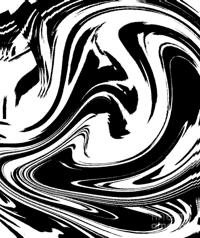 Abstract Circles Waves Black White Minimalist Art Print No 39