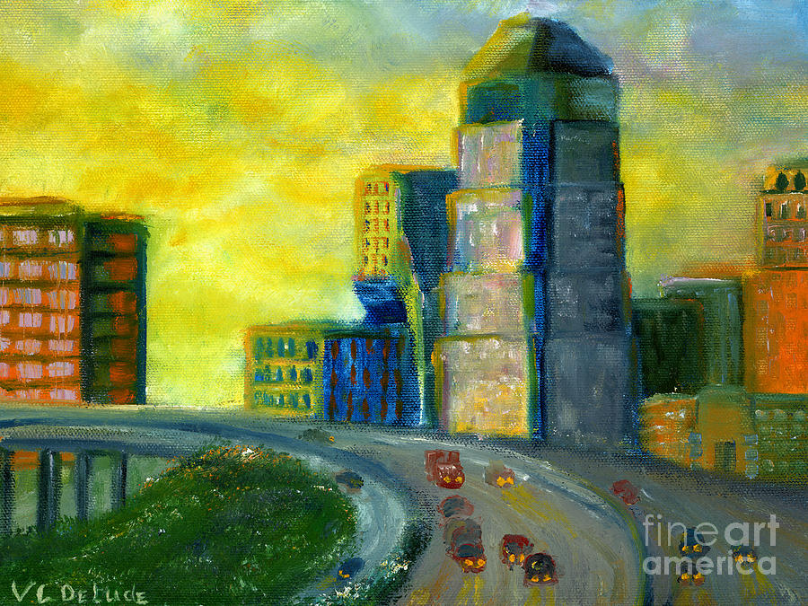 Lenora Painting - Abstract City Downtown Shreveport Louisiana by Lenora  De Lude