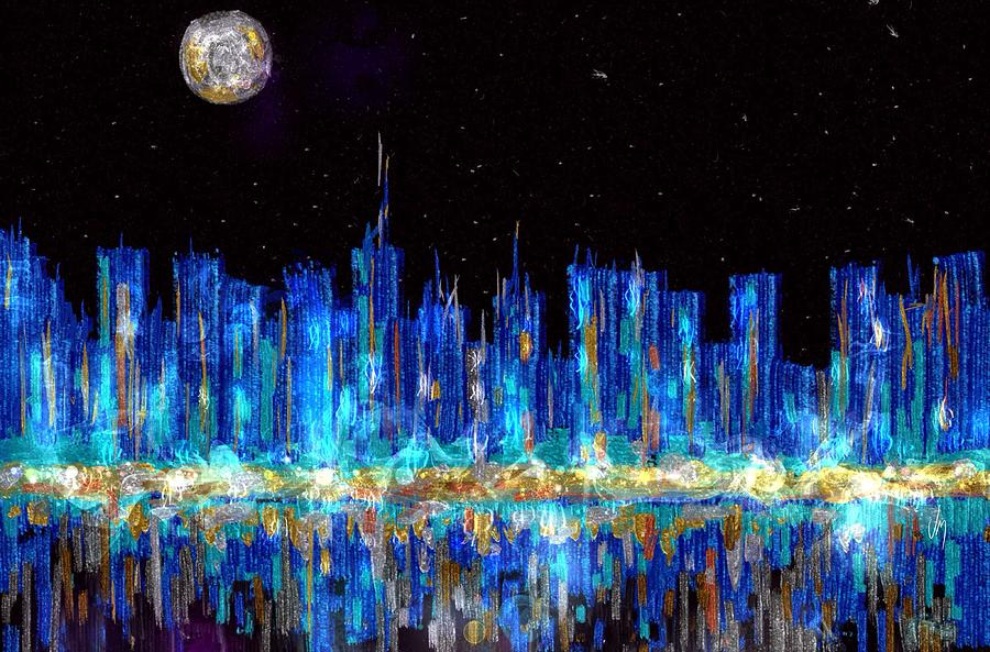 abstract city skyline painting by veronica minozzi