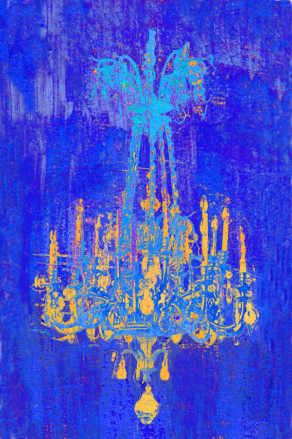 Chandelier Photograph - Abstract Cobalt Blue Chandelier by Suzanne Powers