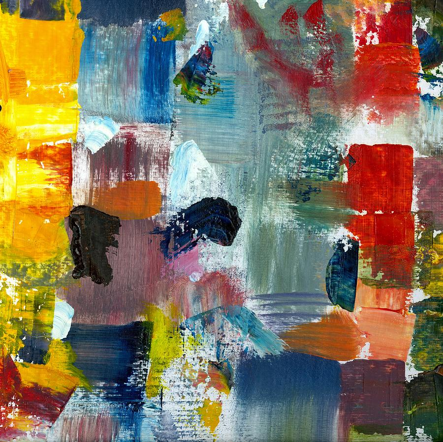 Abstract Collage Painting - Abstract Color Relationships Lv by Michelle Calkins