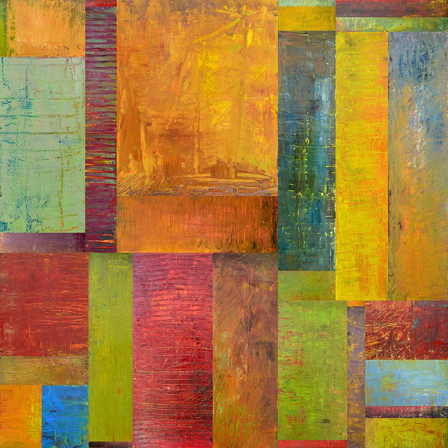 Abstract Color Study Collage L Painting By Michelle Calkins