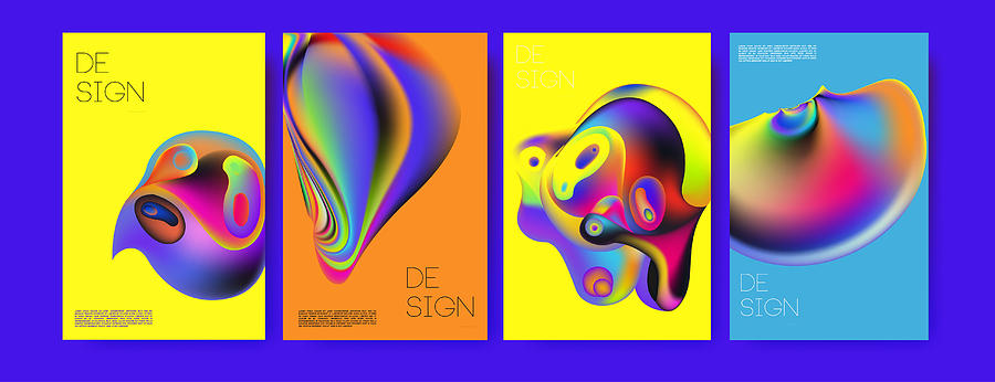 Abstract Colorful Liquid And Curvy Colors Background For Poster Design Blue Yellow Red Orange Pink And Green Vector Banner Poster Template In